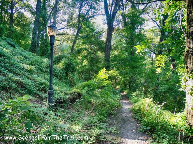 light post on trail