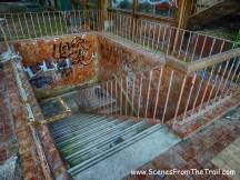 indoor pool stairwell to lockers