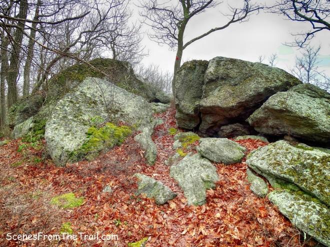 Catfish Loop Trail passes between large boulders