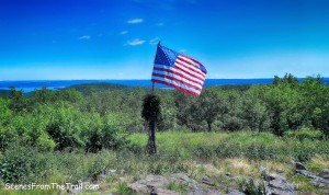 American flag at the summit of Hook Mountain