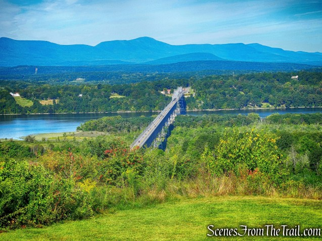 view of the Rip Van Winkle Bridge, the Hudson River and the Catskill Mountains