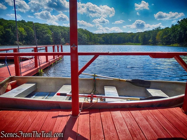 red dock on Barnes Lake