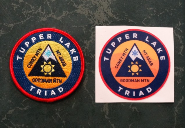 Tupper Lake Triad Challenge patch and window sticker.