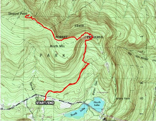 Stoppel Point hike route