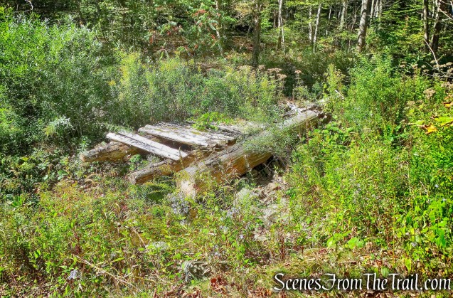 wooden bridge ruins - Bouchoux Brook Trail Extension