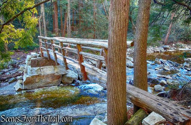 log footbridge - Mossy Glen Footpath
