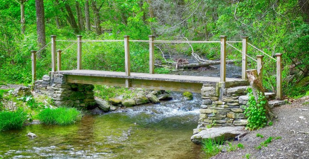 wooden footbridge - Dover Stone Church - May 14, 2016