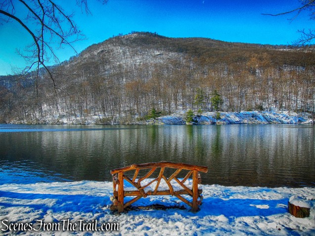 view of Bear Mountain from Hessian Lake