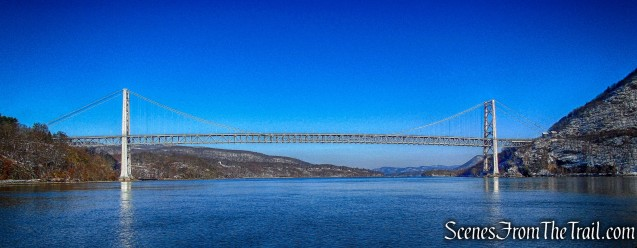 view of Bear Mountain Bridge from Hudson River Dock