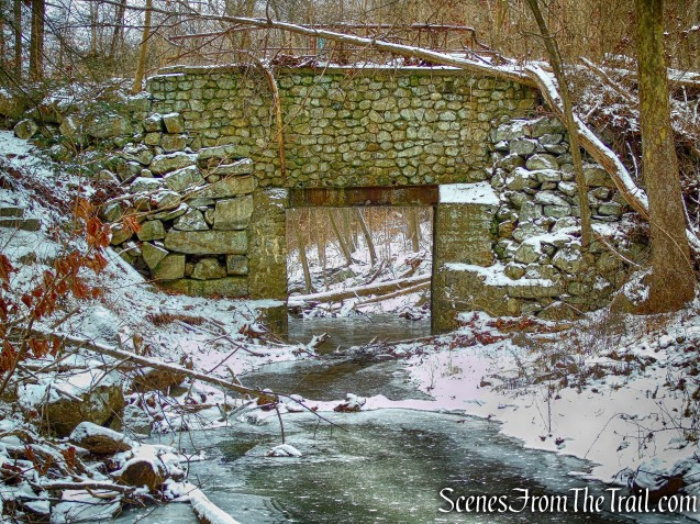 stone bridge over Falls Brook
