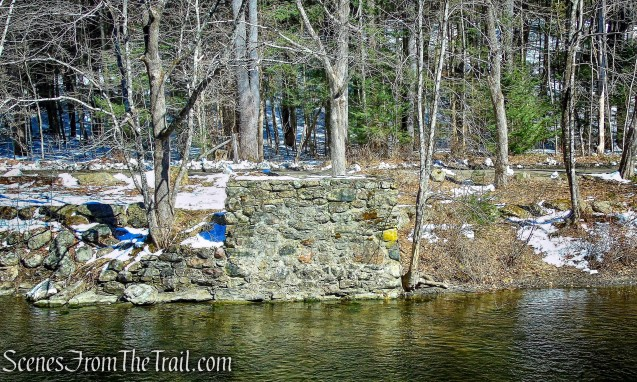 stone foundations for a pedestrian suspension bridge