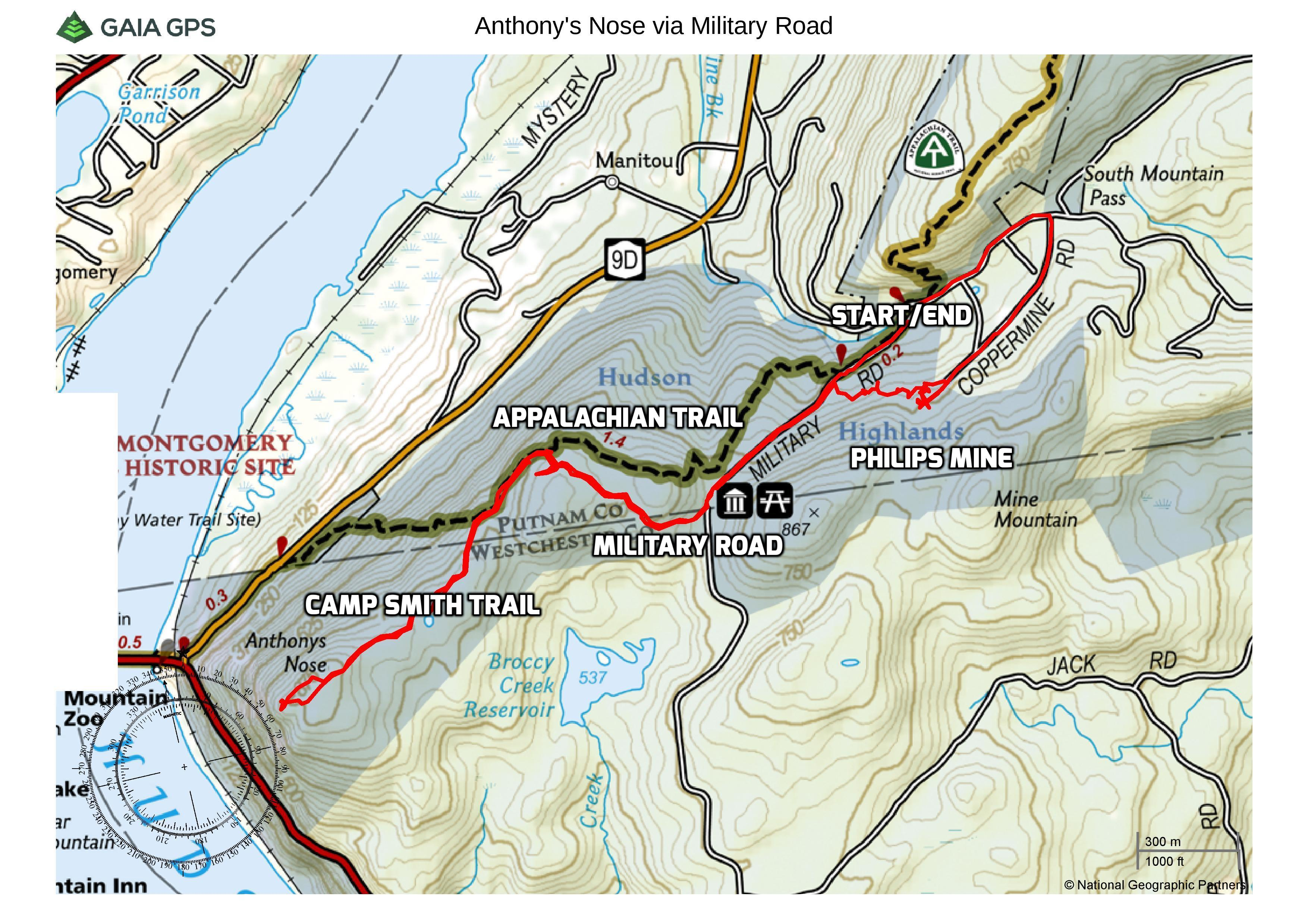 Anthony's Nose via Military Road