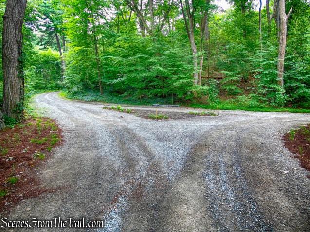 follow the gravel road uphill