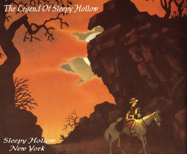 Ichabod Crane riding past Raven Rock - illustration by Robert Van Nutt
