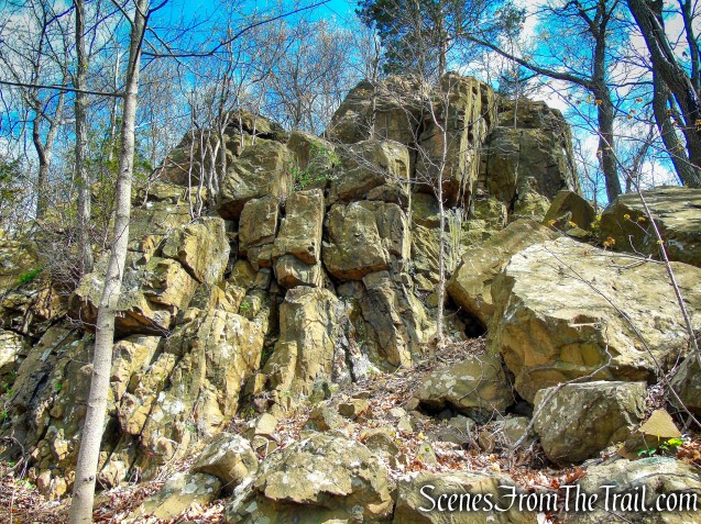 rock formation alongside Mattabesett Trail - Chauncey Peak
