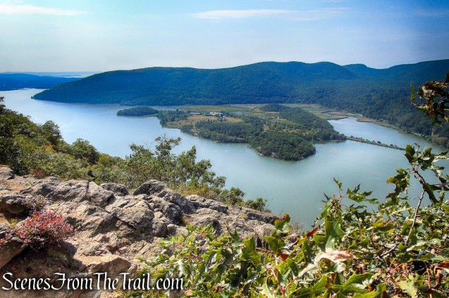 Hudson River, Iona Island and the hills of Bear Mountain State Park as viewed from Anthony's Nose