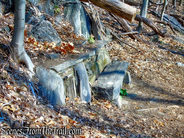 stone benches - Irvington Woods