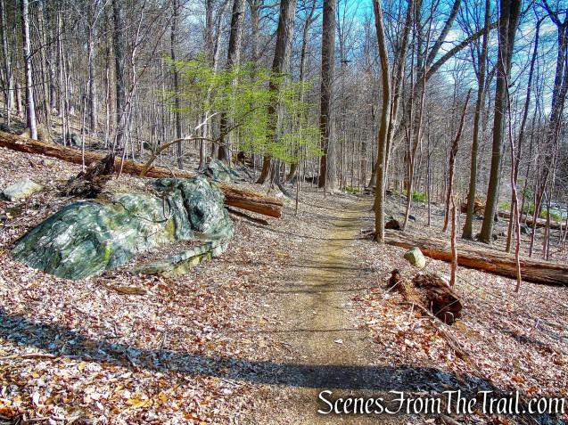 stone benches - Irvington Woods