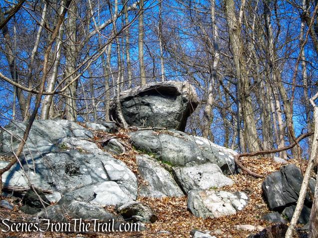 perched boulder - Hermit's Grave Trail