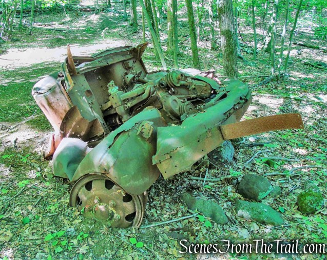 truck ruins on woods road - Salt Hill State Forest