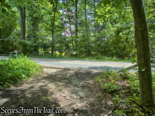 terminus of woods road at Route 129