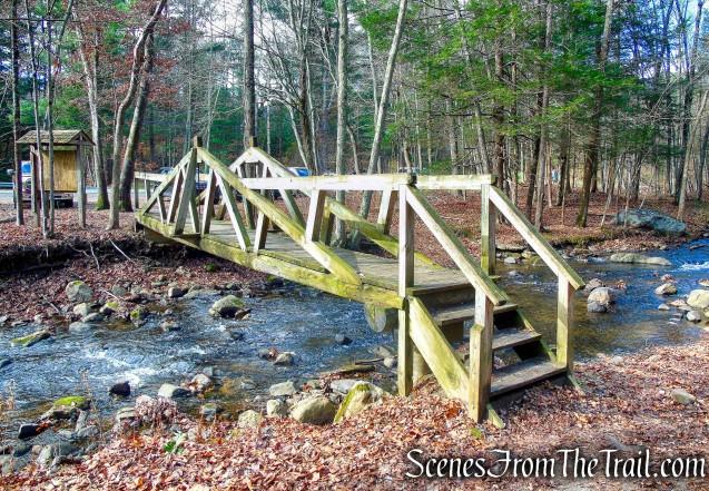 wooden footbridge over Bree Brook - Hidden Valley Preserve