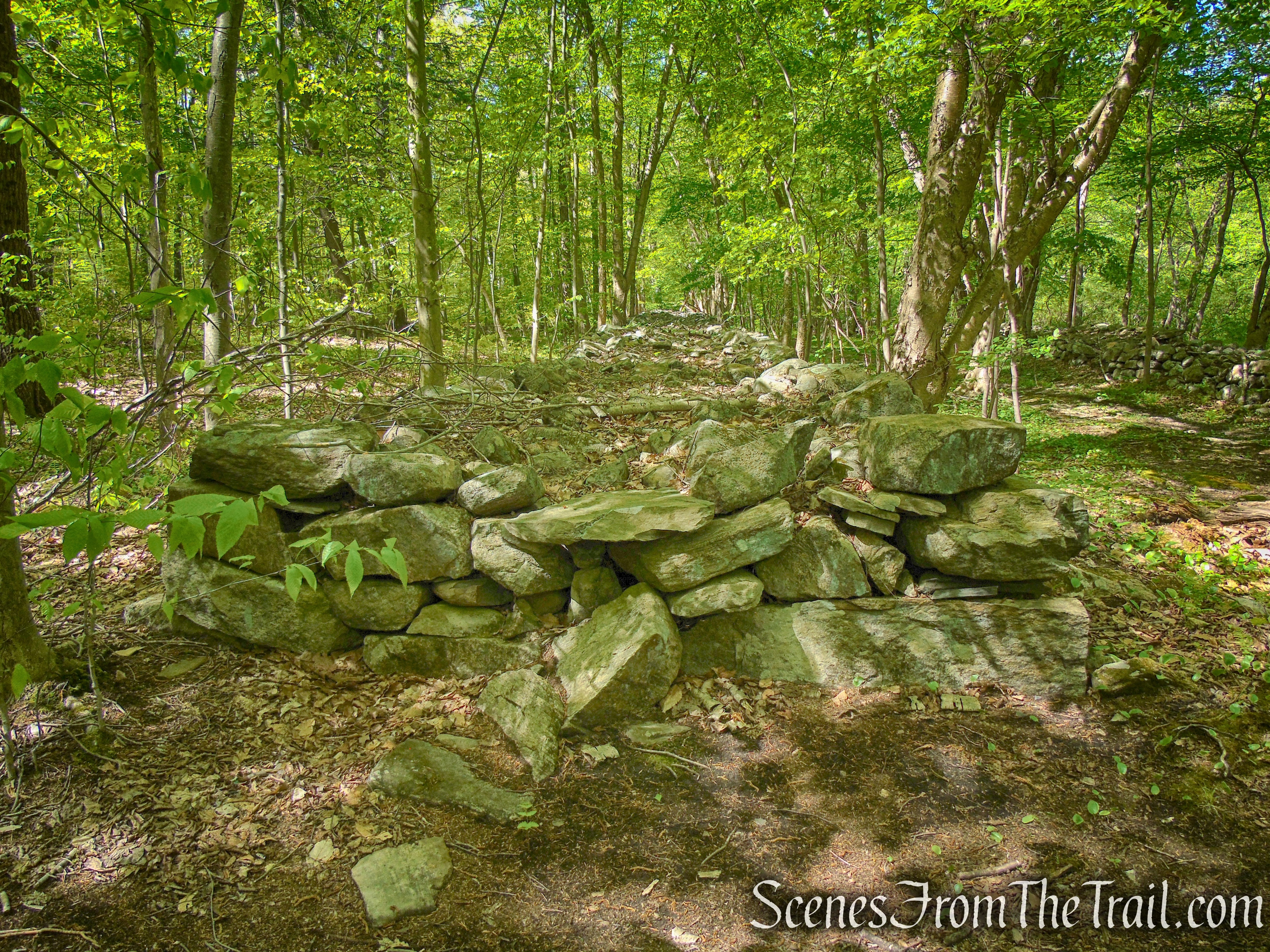 wide stone walls - Indian Hill Loop Trail