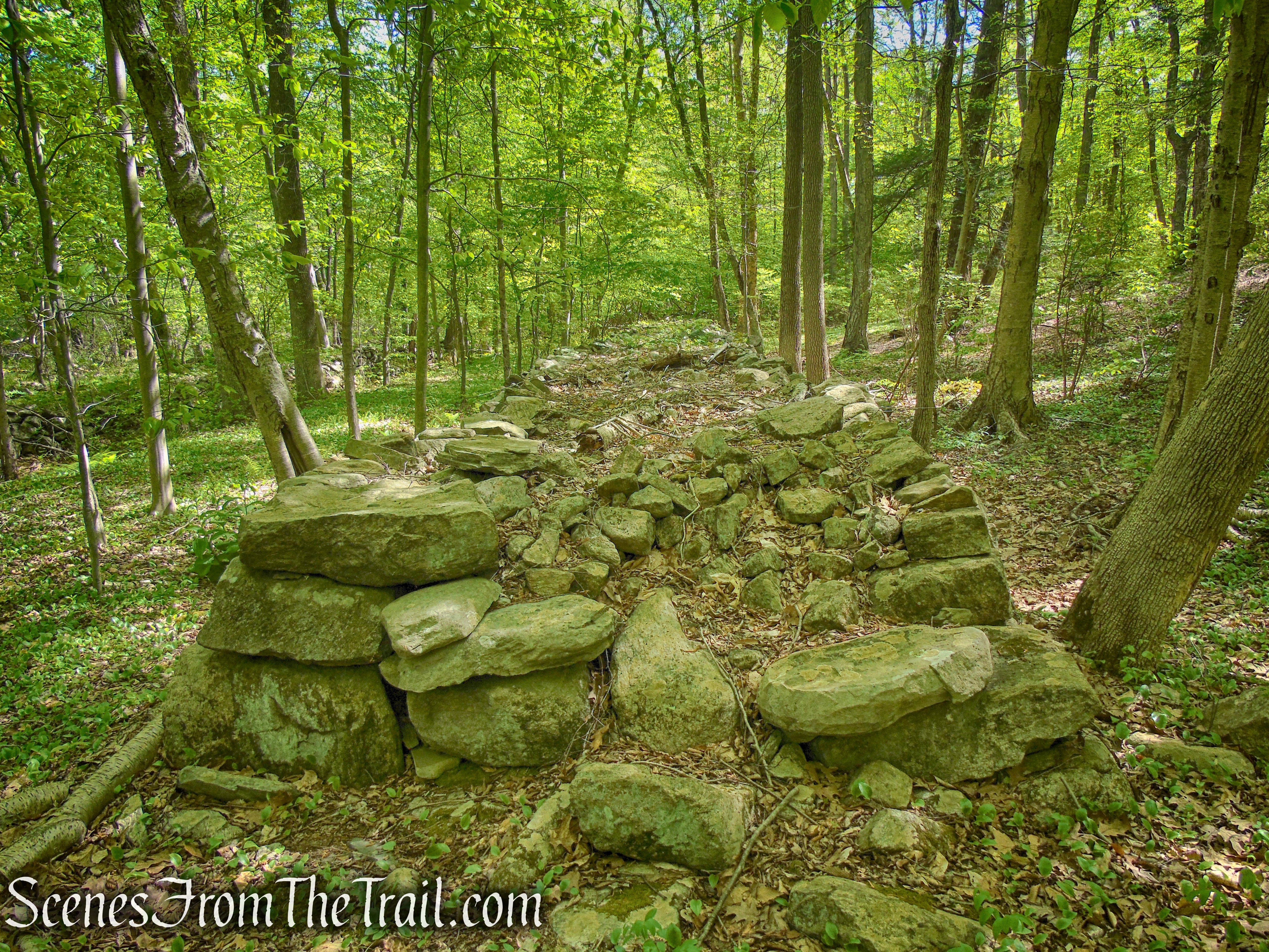 wide stone walls – Indian Hill Loop Trail
